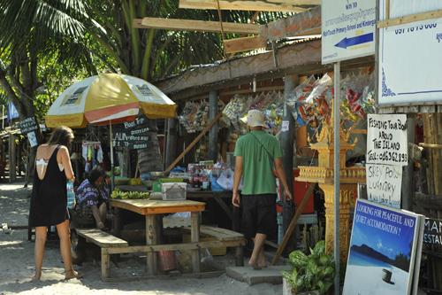 Những gian hàng trên bờ biển Sihanoukville