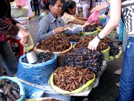 Chợ côn trùng luôn đông khách tới mua
